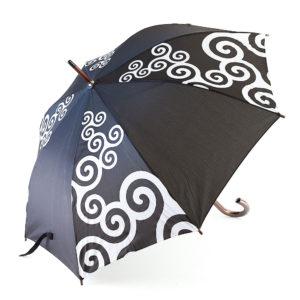 Parapluie noir diagonale triskells blancs